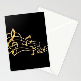 Gold Metallic Music Symbols Stationery Cards