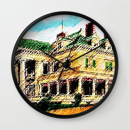 Beachmond Mansion - Newport, Rhode Island Mansion Watercolor - Jéanpaul Ferro Wall Clock