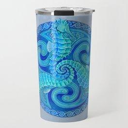 Seahorse Triskele Celtic Blue Spirals Mandala Travel Mug