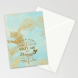 Beach - Mermaid - Mermaid Vibes - Gold glitter lettering on teal glittering background Stationery Cards