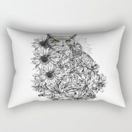 temporary design ornamental owl with flowers Rectangular Pillow