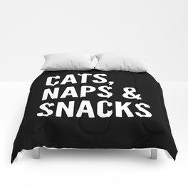 Cats, Naps & Snacks (Black) Comforters