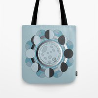 moon phases Tote Bags featuring Moon Phases by TypicalArtGuy