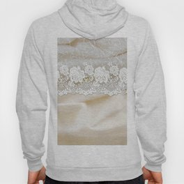 Bride lace - Luxury white floral elegant lace on cream silk fabric Hoody
