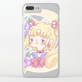 Sailor Moon & Peonies Clear iPhone Case
