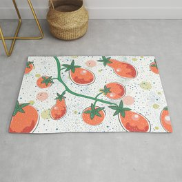 Dotted Background with colorful Tomatoes. Cartoon Design. Seamless Pattern Rug