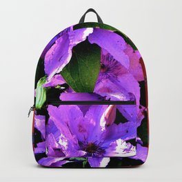 Beautiful purple flowerbush on the wall Backpack