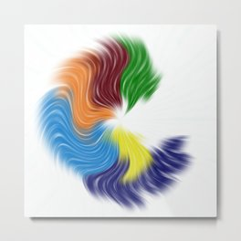 Swept Away Multicolored Blue Abstract Pattern Metal Print