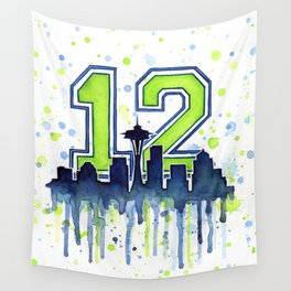 Seattle 12th Man Fan Art Seattle Space Needle Wall Tapestry