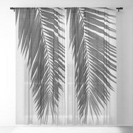 Palm Leaf Black & White I Sheer Curtain