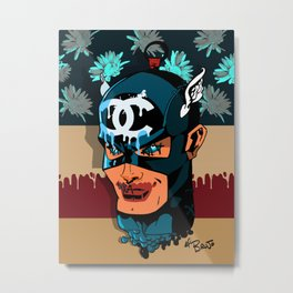 Captain A vs Chaneldrip w/ flowers Metal Print