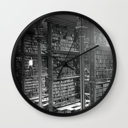 A Book Lover's Dream - Cast-iron Book Alcoves of Leather bound books Old Cincinnati Public Library Wall Clock
