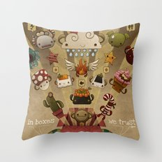 In boxes we trust Throw Pillow