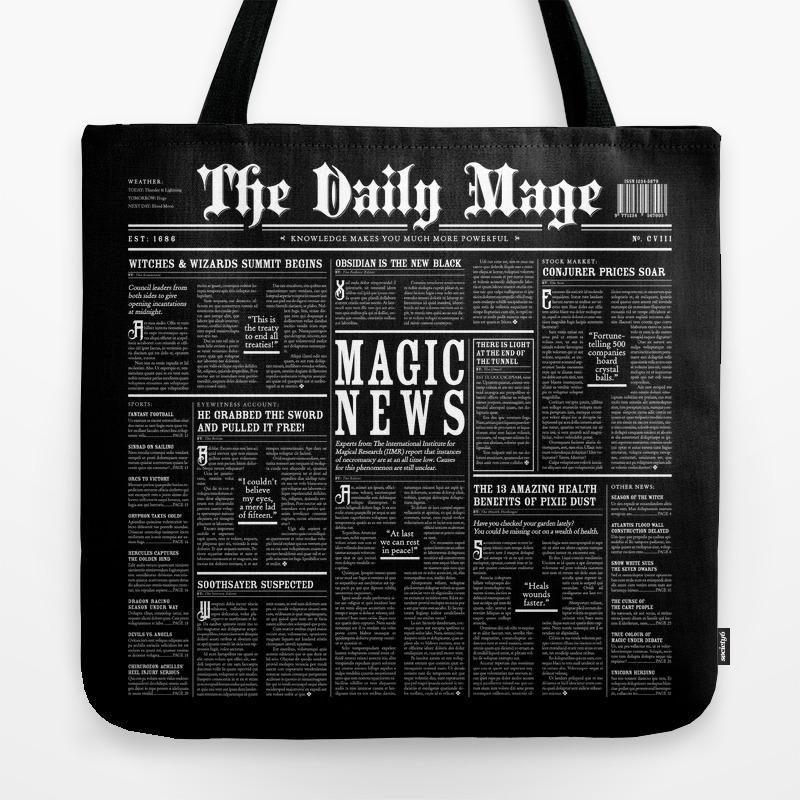 Black Color Mage Tote Bag
