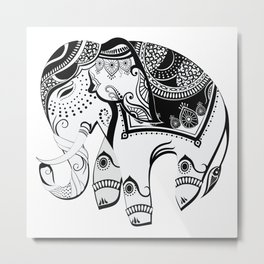 Abstract Design Indian Elephant Metal Print