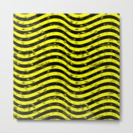Wiggly Yellow and Black Speckle Pattern Metal Print