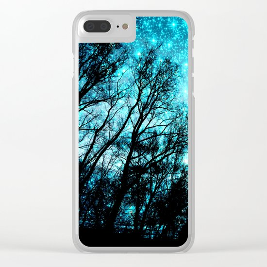 black trees teal space Clear iPhone Case