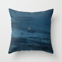 Morning Moonrise: Crescent in the Clouds Throw Pillow