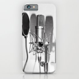 Microphone black and white iPhone Case