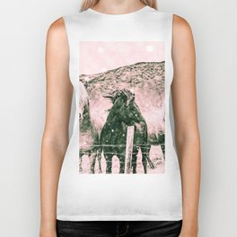 Southwest Horses Black and White Biker Tank