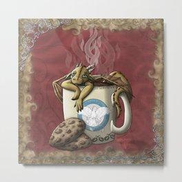 Tea Cup Dragon: Coffee Metal Print