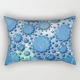 Glass flowers on blue Rectangular Pillow
