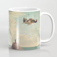 city Mugs featuring City Kite Afternoon by Paula Belle Flores