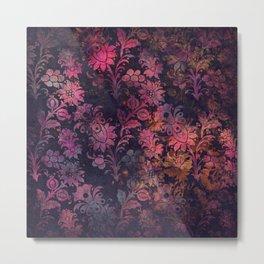 Pink Black Flowers Metal Print