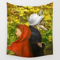 red riding hood Wall Tapestries featuring Red Riding Hood by Diogo Verissimo