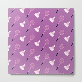 Badminton Racket and Shuttlecock Pattern (Purple) Metal Print