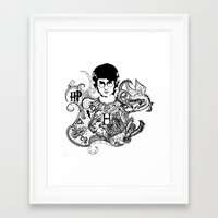 harry potter Framed Art Prints featuring Harry Potter by Ink Tales