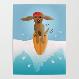 Surf Dog on Top of the Wave Poster