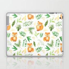 Hand painted cute brown fox watercolor green floral leaves Laptop & iPad Skin