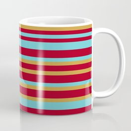 Golden, Red Wine and Turquoise Vintage Stripes Coffee Mug