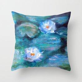 Blue Water Lilies Throw Pillow