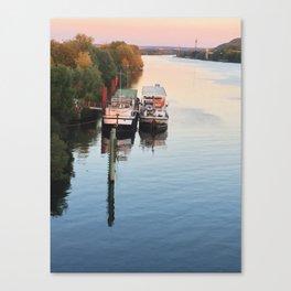 Boats on th Seine Canvas Print