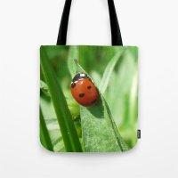 ladybug Tote Bags featuring Ladybug by MehrFarbeimLeben