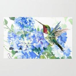 Hydrangea Flowers and Ruby Throat Hummingbird Rug