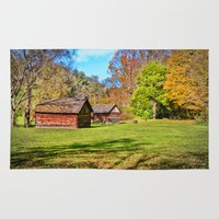 tennessee Area & Throw Rugs featuring Johnson City Tennessee Cabins by Mary Timman