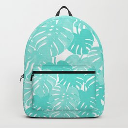 Monstera tropical palm leaves watercolor botanical painting pastel blue decor Backpack