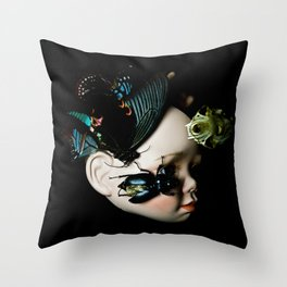 Porcelain Doll Head, SkuIl and Insects Throw Pillow