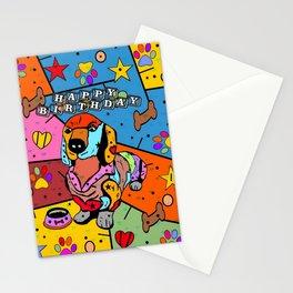 Dachshund  Popart by Nico Bielow Stationery Cards