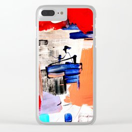 Abstract Artwork The Captain in red, orange, blue and black and white, red Clear iPhone Case