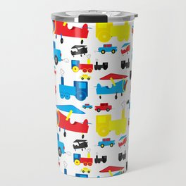 Cute Colorful Planes, Trains and Cars Pattern Travel Mug
