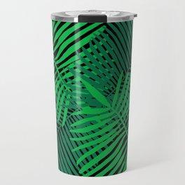 Modern Tropical Palm Leaves Painting black background Travel Mug