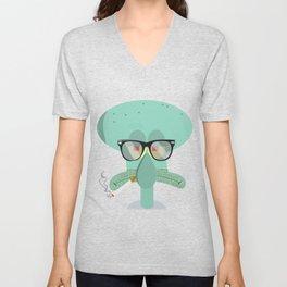 Hipster Squidward Unisex V-Neck