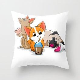 Dog coffee ice cream tea Corgi Pug Doggie Puppy Throw Pillow