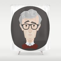 woody allen Shower Curtains featuring Woody Allen by Alexander Kuzmin