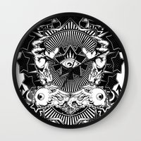 all seeing eye Wall Clocks featuring All seeing eye by Tshirt-Factory