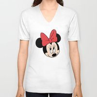 minnie mouse V-neck T-shirts featuring So cute Minnie Mouse by Yuliya L